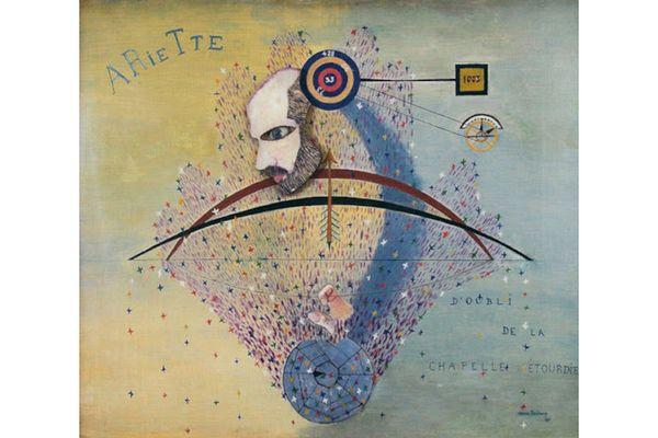 """Suzanne Duchamp """"ArieTte d'oubli de la chapelle étourdi"""" (1920) Technique mixte sur sur toile 54x64 cm"""
