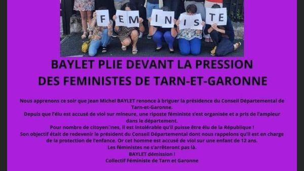 Le message des associations féministes après le renoncement de Jean-Michel Baylet à se présenter à la présidence du département du Tarn-et-Garonne.