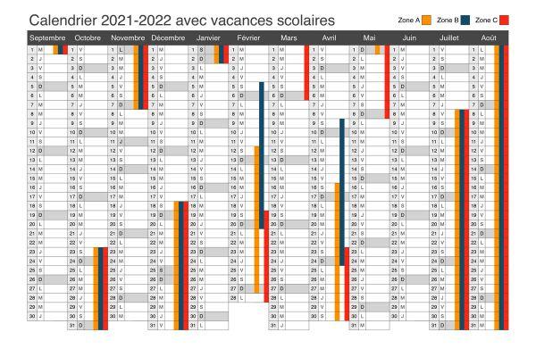 Calendrier 2022 Avec Vacances Scolaires Et Jours Feries Vacances scolaires : découvrez le calendrier officiel 2021 2022
