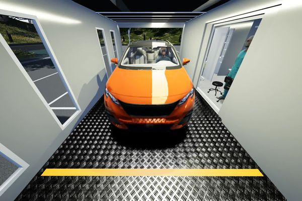 Le système test 2 sens est capable d'accueillir le patient à l'intérieur de son véhicule