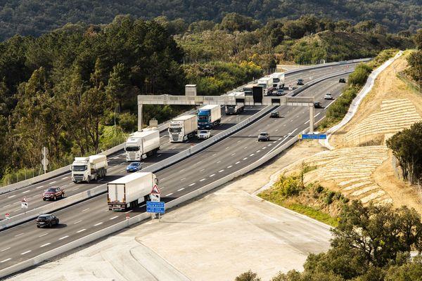 L'autoroute A9 au niveau de la frontière franco-espagnole
