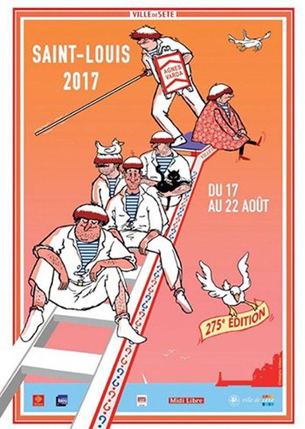 L'affiche de la 275ème fête de la Saint Louis de Sète a été réalisée par l'artiste Christophe Vallaux sous la direction artistique de la réalisatrice de film Agnès Varda.