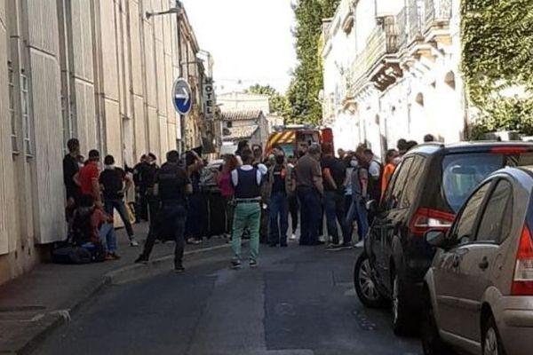 Le centre social Bonnard, occupé par des familles venues des pays de l'Est est en cours d'évacuation par les forces de l'ordre à Montpellier. - 23 juillet 2020.