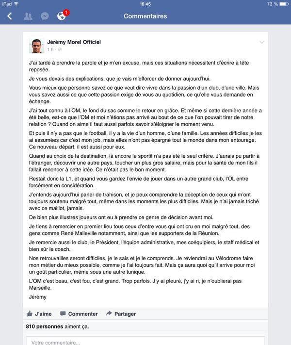 La lettre de Morel postée sur son compte FB