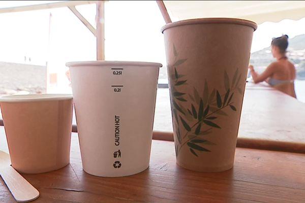 Exemple de contenants eco-responsables proposés pour la vente à emporter et sur la plage
