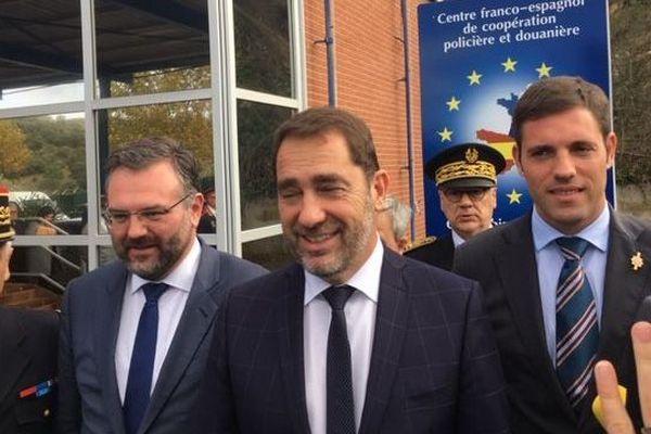 Christophe Castaner, ministre de l'intérieur, au Perthus, à la frontière franco-espagnole, en visite au centre de  coopération policière et douanière. - 12/11/18