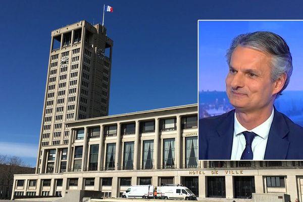 l'hôtel de ville du Havre et en médaillon : Jean-Baptiste Gastinne