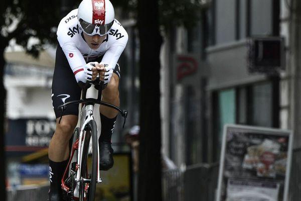 Le Polonais Michal Kwiatkowski lors de l'épreuve de contre la montre individuelle sur le Critérium du Dauphine 2018 à Valence