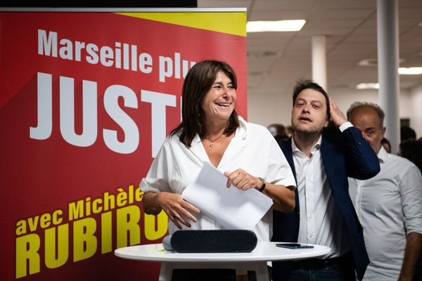 Michèle Rubirola , Benoît Payan et Sébastien Barles à l'annonce de la victoire de la gauche à Marseille.
