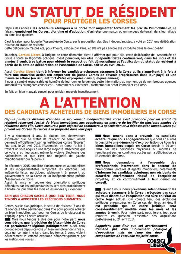 le tract distribué hier par Corsica Libera sur l'île