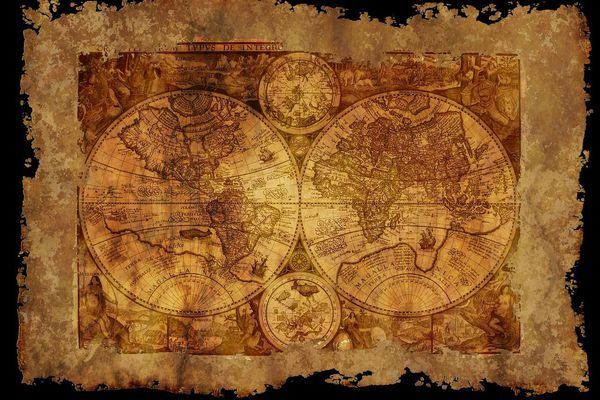 Une carte géographique ancienne (image d'illustration)