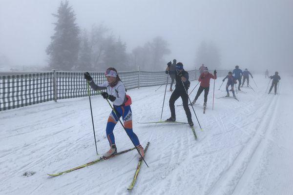 Des jeunes du Club Molsheim Ski nordique, mercredi 2 décembre, au Champ du feu