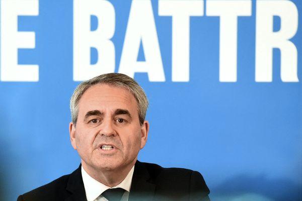 Xavier Bertrand lors d'une conférence de presse à Maubeuge (Nord), lundi 3 mai 2021. Le président des Hauts-de-France, candidat à sa réélection, arrive en tête de notre sondage quelques semaines avant le premier tour des élections régionales des 20 et 27 juin prochain.