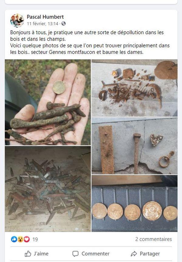 Quelques déchets ramassés du côté de Gennes, Montfaucon et Baumes-les-Dames.