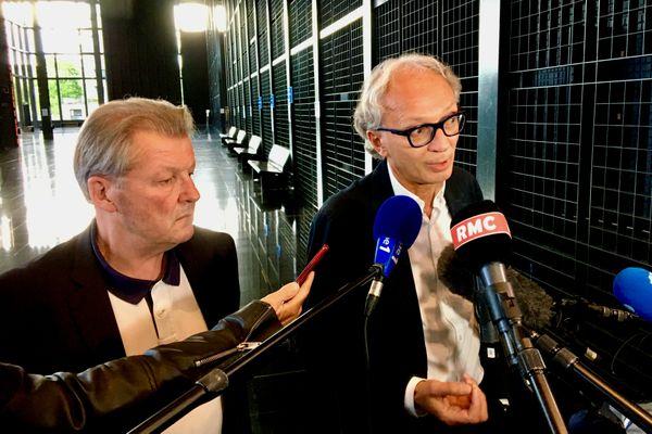 Me Larvor et Me Fillion, défenseurs d'Hubert Caouissin au palais de Justice de Nantes le 28 juin 2021