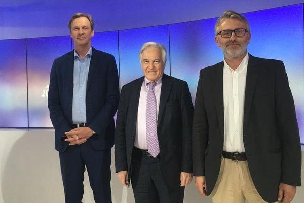 Les trois candidats en lice pour le second tour des élections municipales à Moulins. De gauche à droite : Stefan Lunte, Pierre-André Périssol et Yannick Monnet.