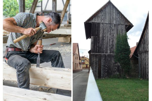 Les charpentiers travaillent actuellement au façonnage des poutres en respectant les méthodes traditionnelles d'équarissage. A droite, le séchoir avant démontage.