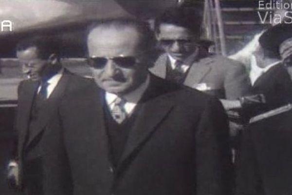 Le roi Mohamed V lors de son retour en Corse, en 1959.
