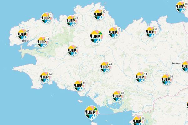 La carte des événements des journées européennes du patrimoine en Bretagne