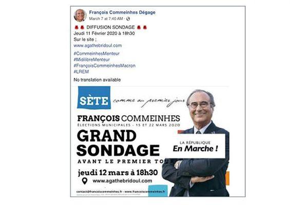 De faux comptes Facebook ouverts pendant la campagne électorale à Sète et désormais fermés. Exemple avec ce sondage pour le premier tour datant de février 2020 qui n'a jamais existé.