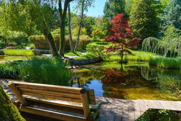 Un endroit propice pour se pose au bord d'un des bassins