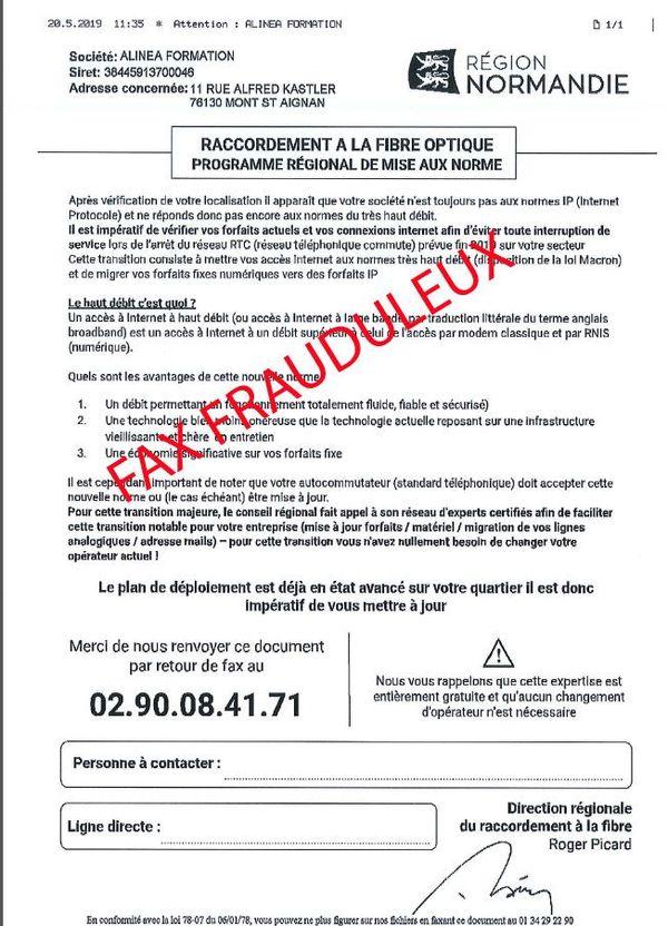 Exemple d'un fax frauduleux reçu par une entreprise