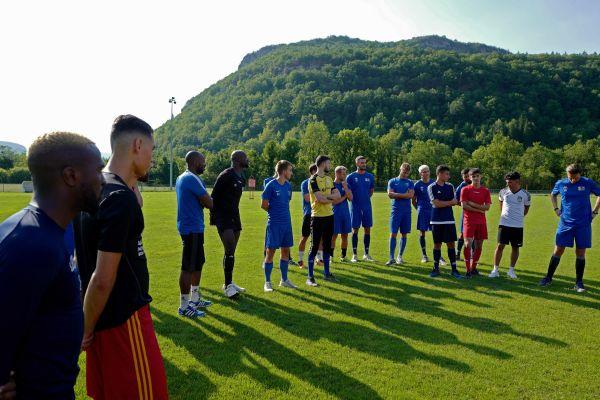 Reprise de l'entrainement de l'équipe de Jura-Sud qui évolue en Nationale 2 sur le stade d'entrainement de Molinges le 3 juillet 2019. -