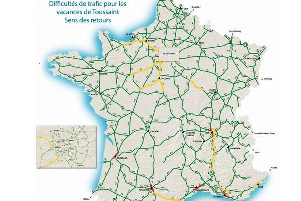 Pour le retour des vacances de la Toussaint, Bison Futé annonce orange sur les routes