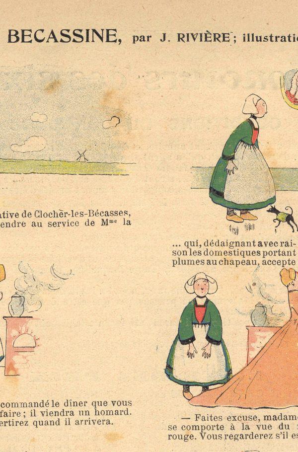 La toute première planche de Bécassine, parue en 1905.