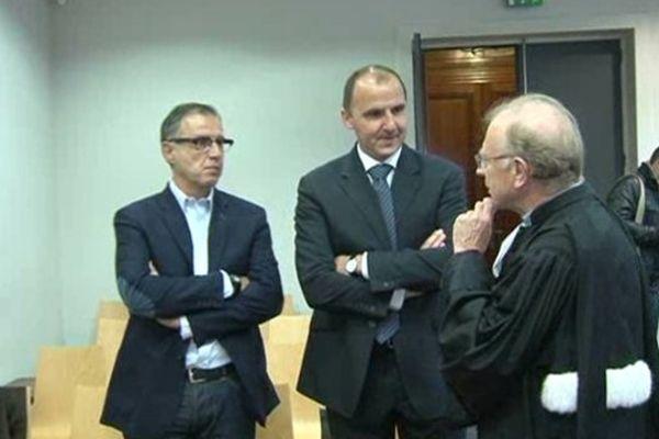 Frédéric Forte, président du Limoges Csp et Maitre Martial Dauriac, avocat du club,  à l'audience des prud'hommes à Limoges, 29 avril 2014