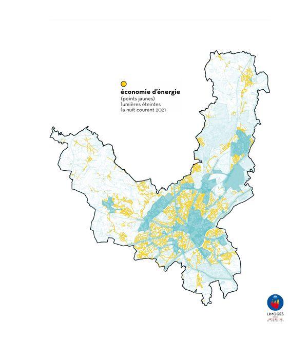 La carte des zones concernées par l'extinction de l'éclairage public de 23h30 à 5h30, représentées par les points jaunes.