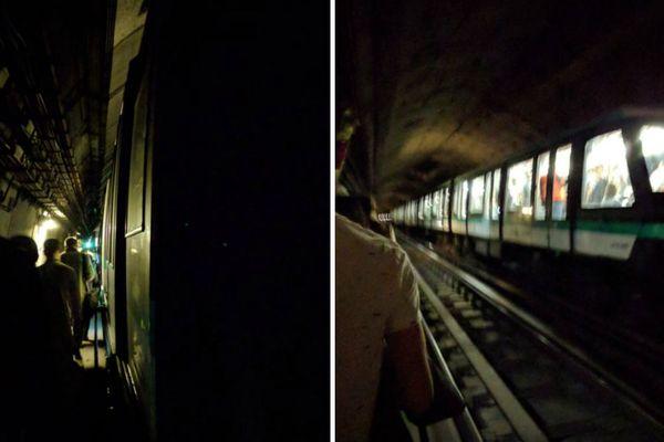Des voyageurs évacués de la ligne 14 du métro parisien, le 29 août 2018.
