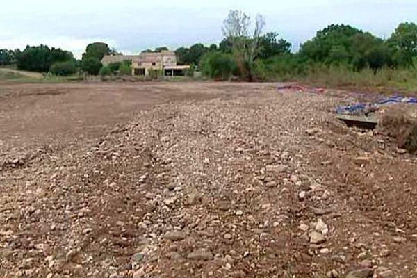 Brignac (Hérault) - une vigne, 3 semaines après les inondations - 5 octobre 2015.
