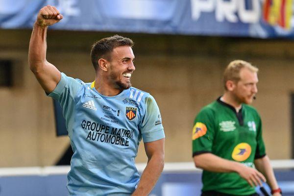 L'arrière perpignanais Melvyn Jaminet, à l'origine de 23 points à lui seul lors de la finale face à Biarritz, le 5 juin 2021.