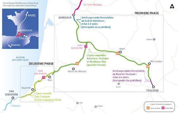 Le projet GPSO prévoit deux tronçons : Bordeaux-Toulouse, Bordeaux Dax.