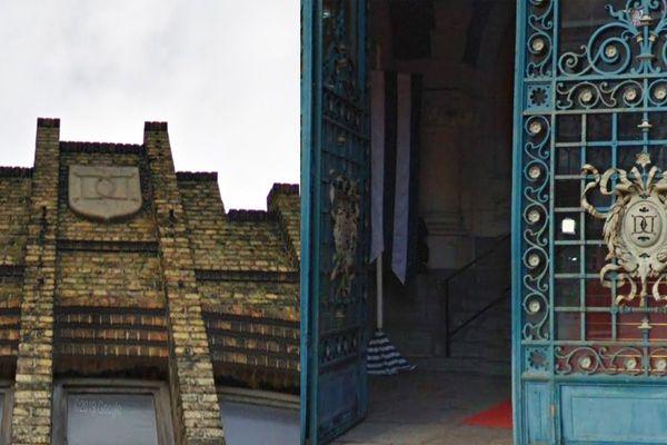 """Sur les grilles de l'hôtel de ville et sur la façade du bâtiment, les mêmes """"D"""" croisés."""