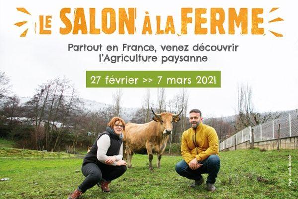 """Comme un pied de nez aux affiches du traditionnel Salon de la porte de Versailles à Paris, """" nous avons voulu mettre en avant les paysannes et les paysans, en plus de l'habituelle vache égérie du Salon, en l'occurrence ici une Aubrac."""""""