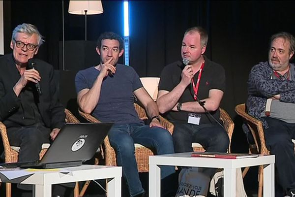 François Schuiten, Thomas Gunzig, Jaco Van Dormael et Laurent Durieux au festival de la bande dessinée d'Amiens le 1er juin 2019