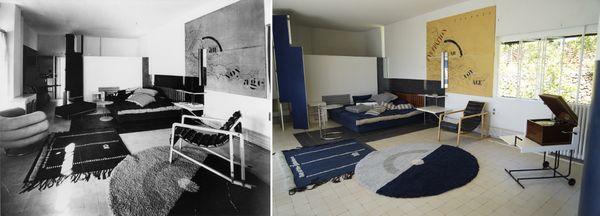 La pièce principale de la villa E-1027, en 1929 et en 2021 après la restauration.