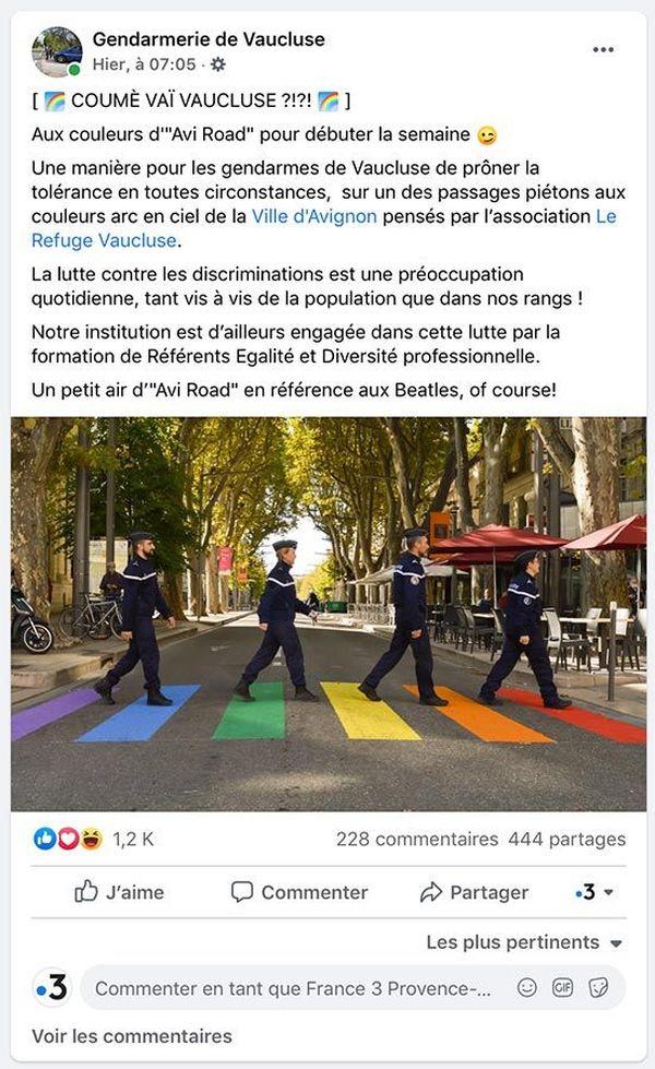Capture d'écran du post Facebook de la gendarmerie de Vaucluse
