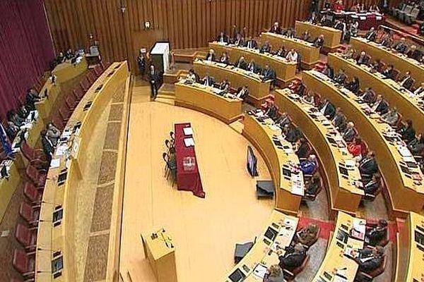 Toulouse - les élus dans l'hémicycle du conseil régional Languedoc-Roussillon-Midi-Pyrénées - 4 janvier 2016.