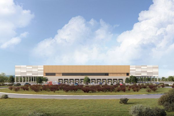 Une esquisse de ce que sera la future agence de livraison d'Amazon à Fontaine dans le Territoire de Belfort.