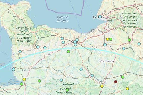 Les points d'impact du séisme de ce 21 juin 2019,  ayant touché l'Ouest de la France à 8H50 ce matin , vont très clairmeent jusqu'à la Normandie, sur la carte de France Séïsme