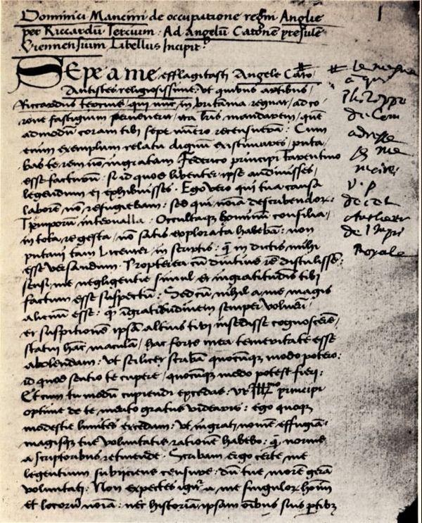 La première page du manuscrit de Dominique Mancini, conservé à Lille.