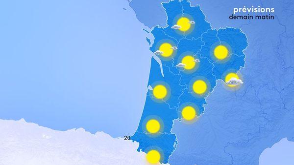Les températures minimales seront des plus fraiches demain matin comprises entre 3 et 12 degrés d'est en ouest.