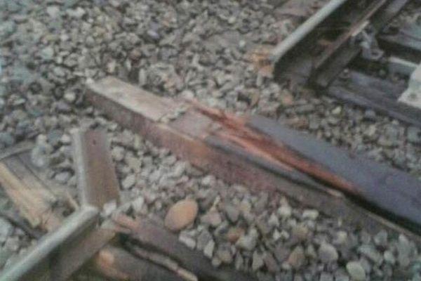 Le rail cassé de la ligne Toulouse-Tarbes le 26 novembre dernier