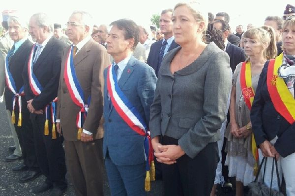 Marine Le Pen aux côtés de Jean-Paul Alduy à Rivesaltes ce 25 septembre 2012