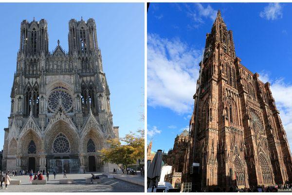 Les cathédrales Notre-Dame de Reims et Notre-Dame de Strasbourg.