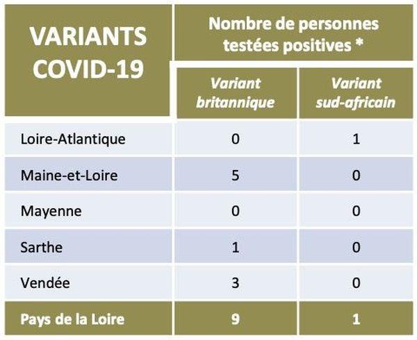Le nombre de cas de variants à la covid-19 détectés dans les Pays de la Loire au 19 01 2021