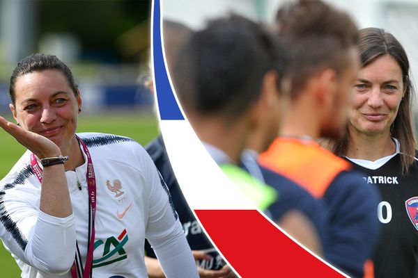 A gauche, Corinne Diacre, actuelle sélectionneure des Bleues. A droite, Corinne Diacre lorsqu'elle entraînait le Clermont-Foot.
